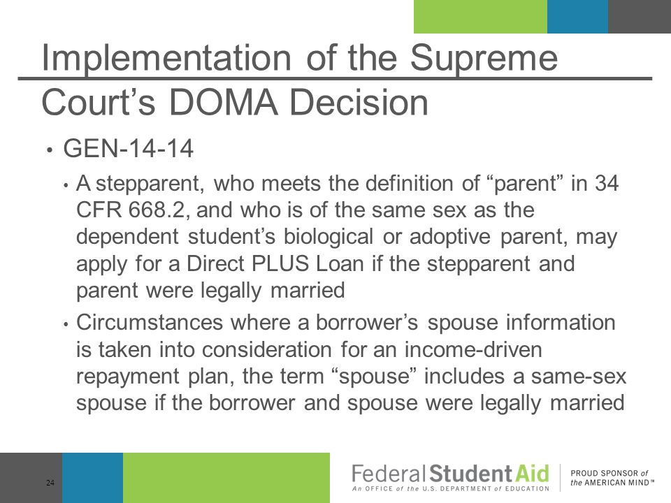 Implementation of the Supreme Court's DOMA Decision
