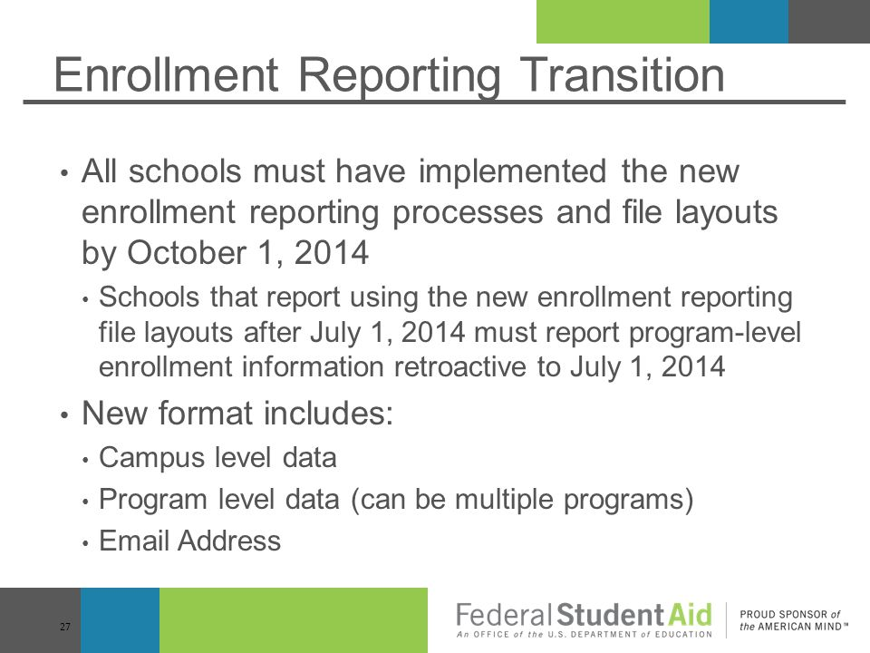 Enrollment Reporting Transition