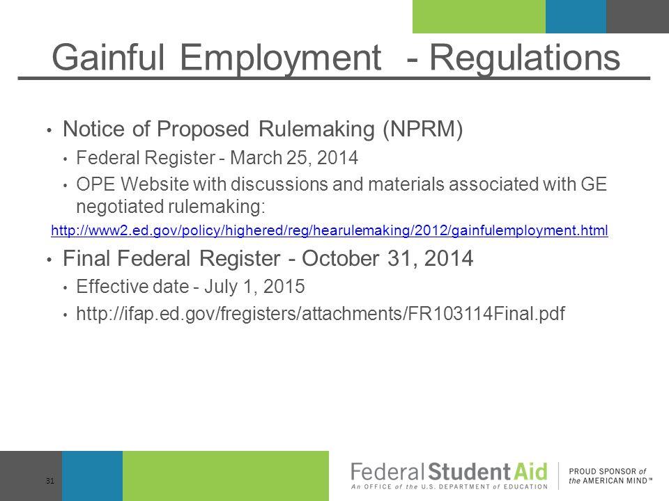 Gainful Employment - Regulations