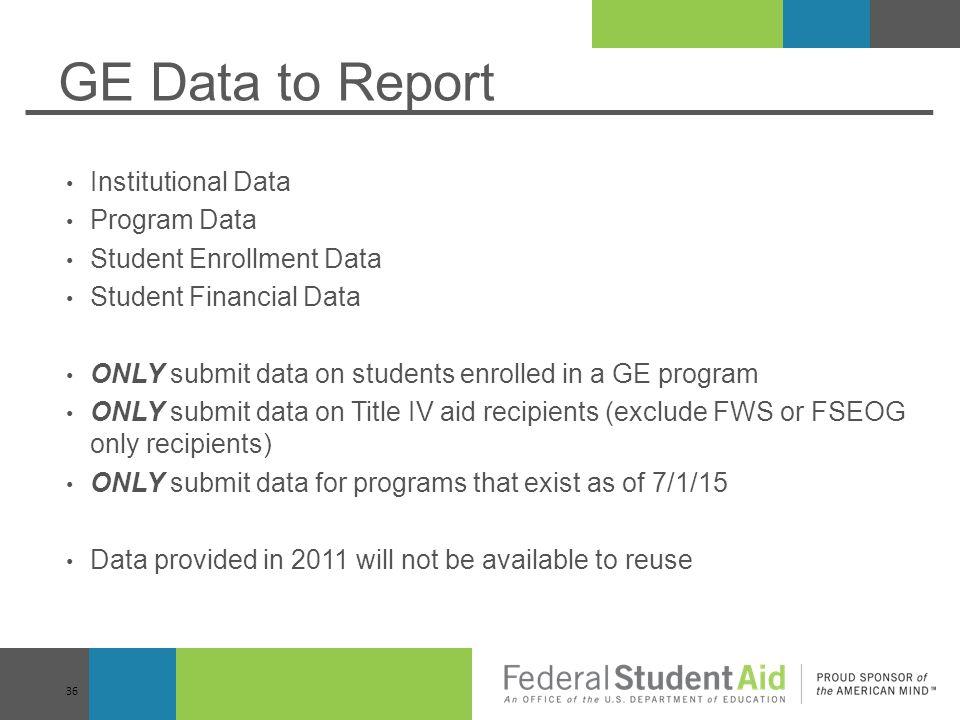 GE Data to Report Institutional Data Program Data
