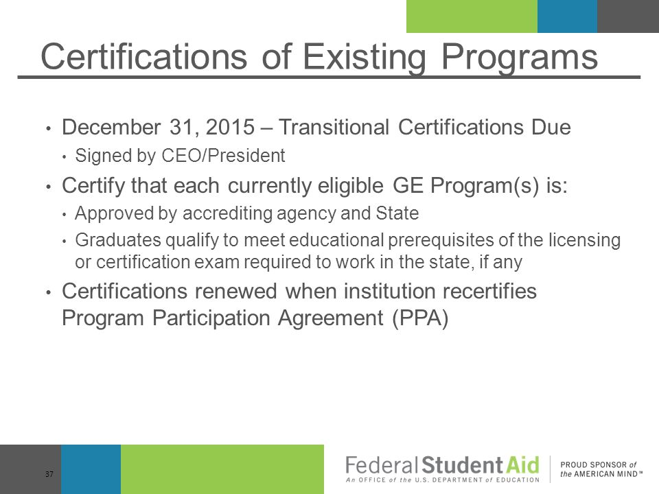 Certifications of Existing Programs