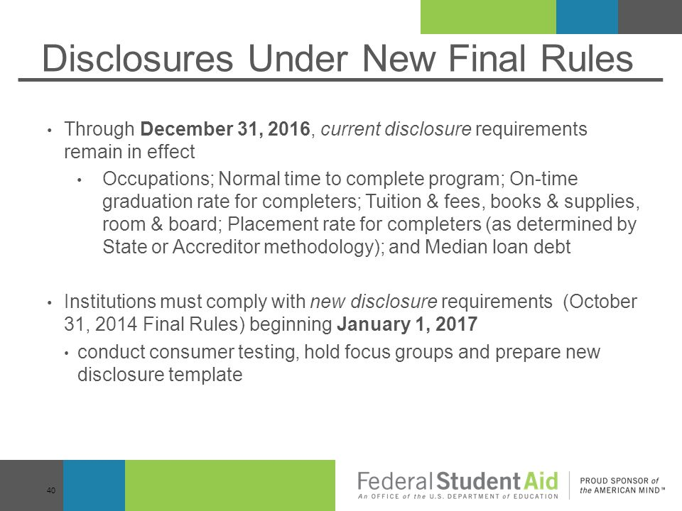 Disclosures Under New Final Rules
