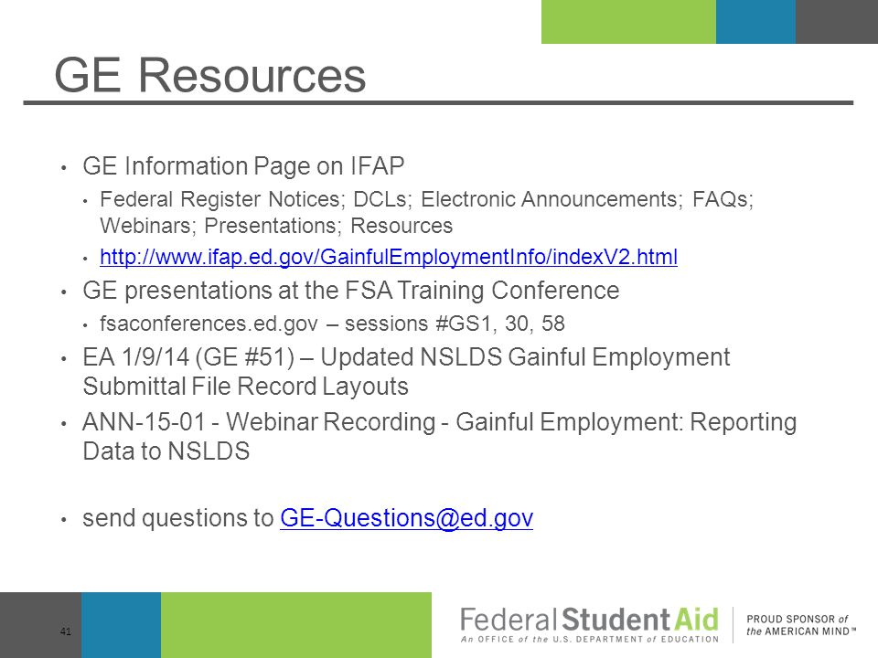 GE Resources GE Information Page on IFAP