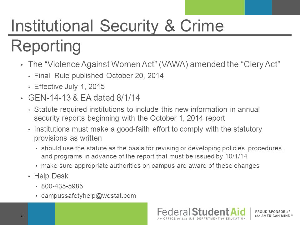 Institutional Security & Crime Reporting