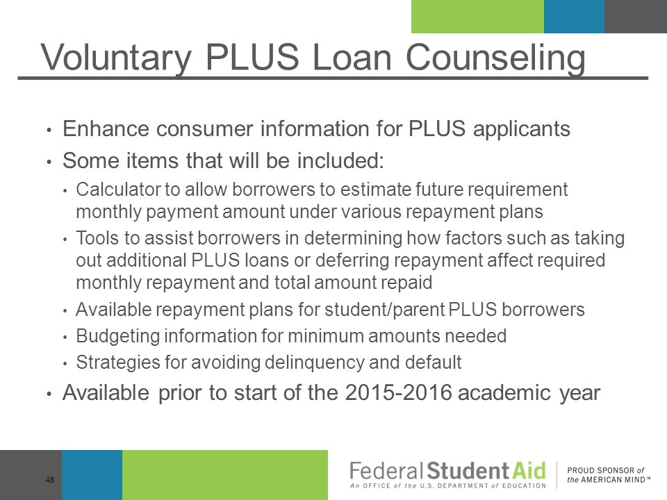 Voluntary PLUS Loan Counseling