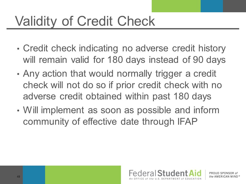 Validity of Credit Check