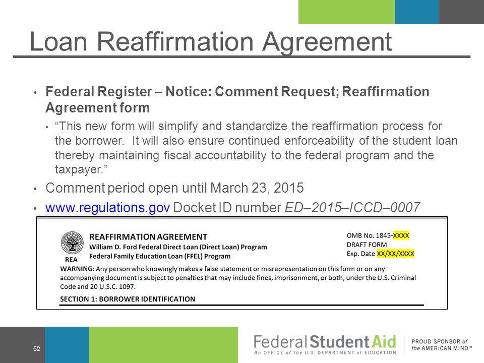 Loan Reaffirmation Agreement