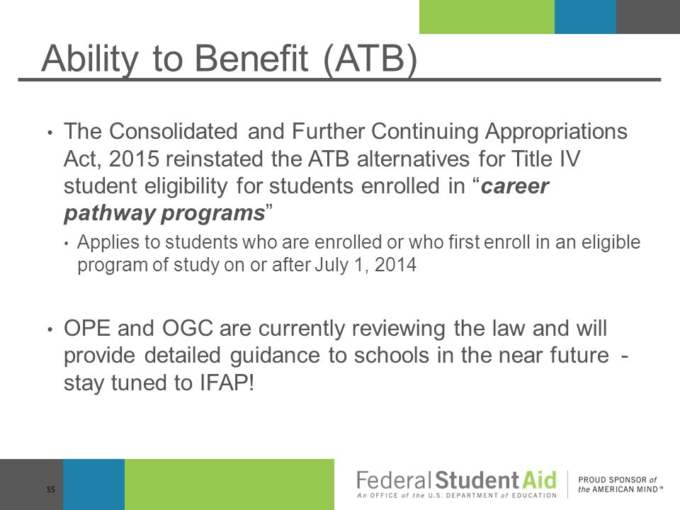 Ability to Benefit (ATB)