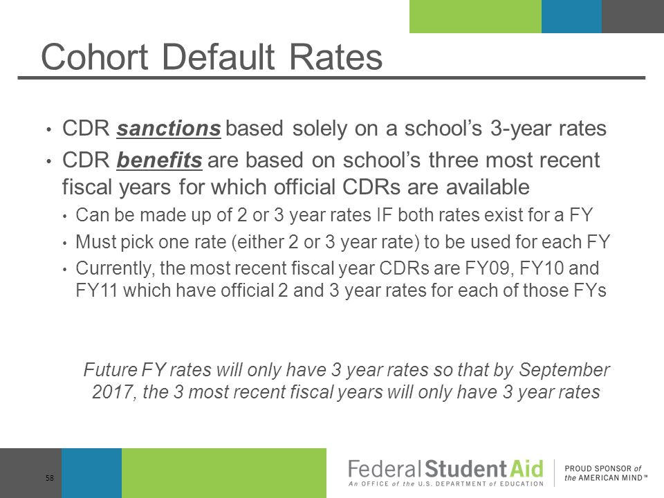 Cohort Default Rates CDR sanctions based solely on a school's 3-year rates.