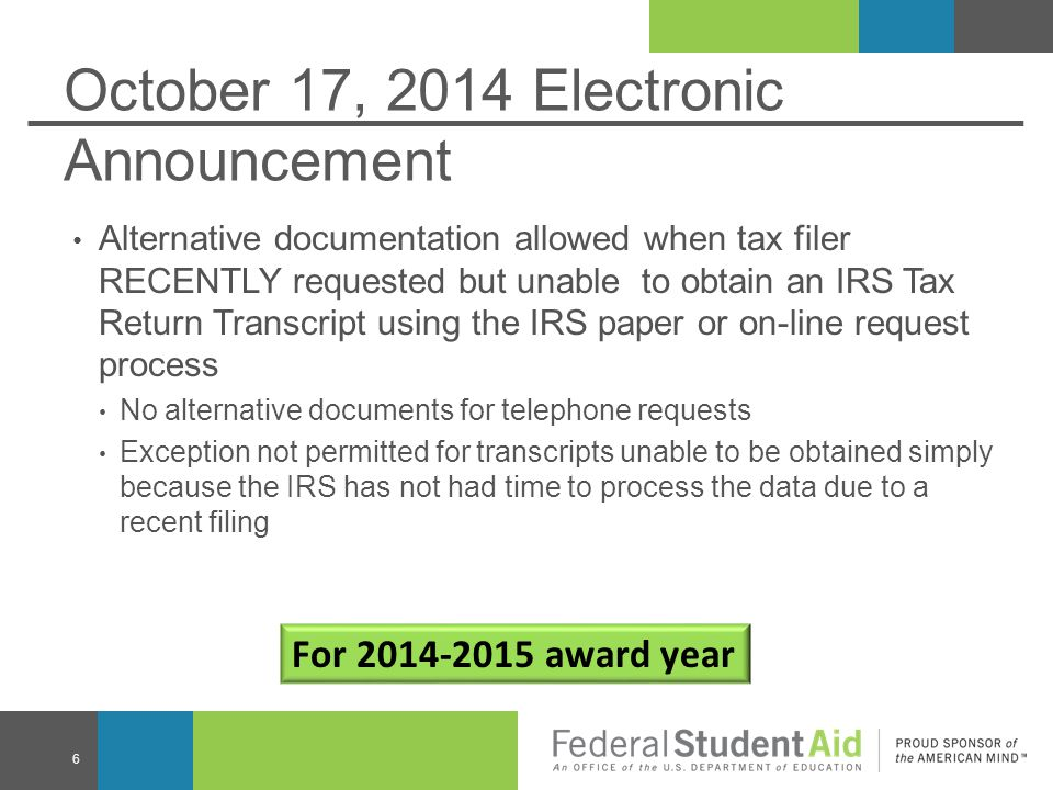 October 17, 2014 Electronic Announcement