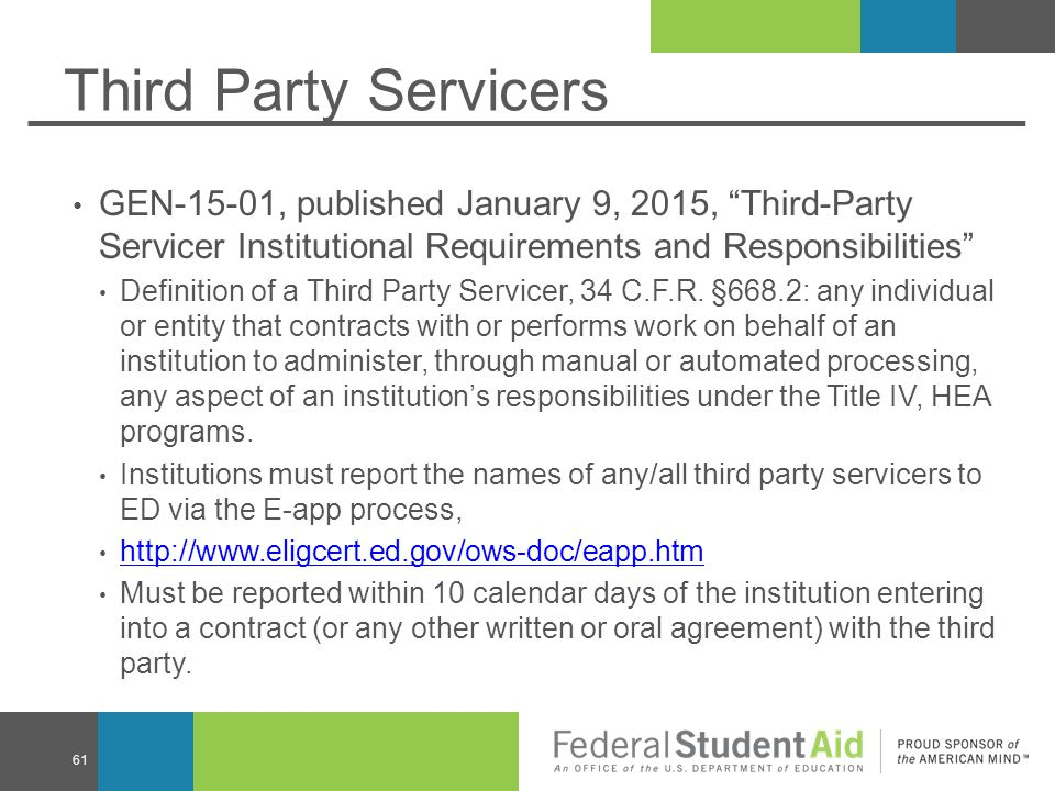 Third Party Servicers GEN-15-01, published January 9, 2015, Third-Party Servicer Institutional Requirements and Responsibilities