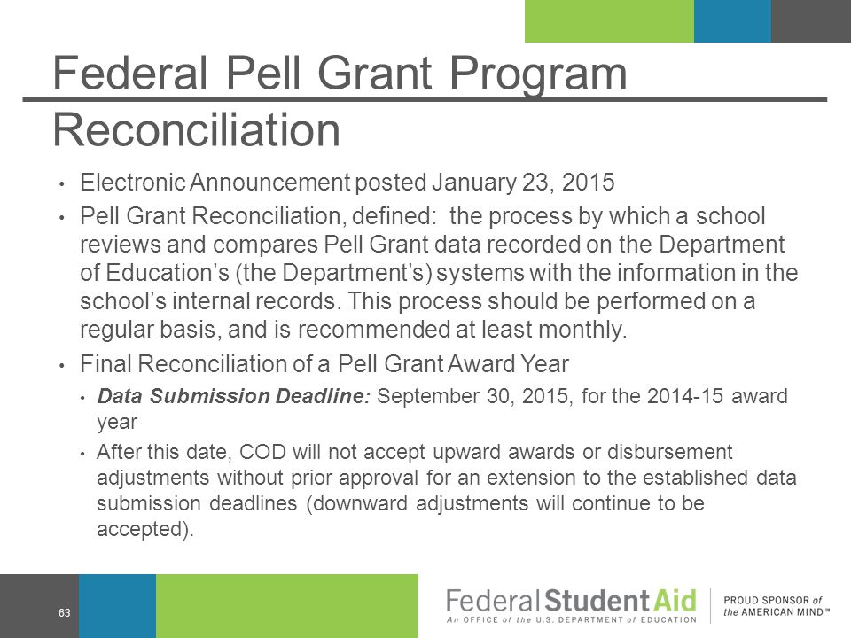 Federal Pell Grant Program Reconciliation