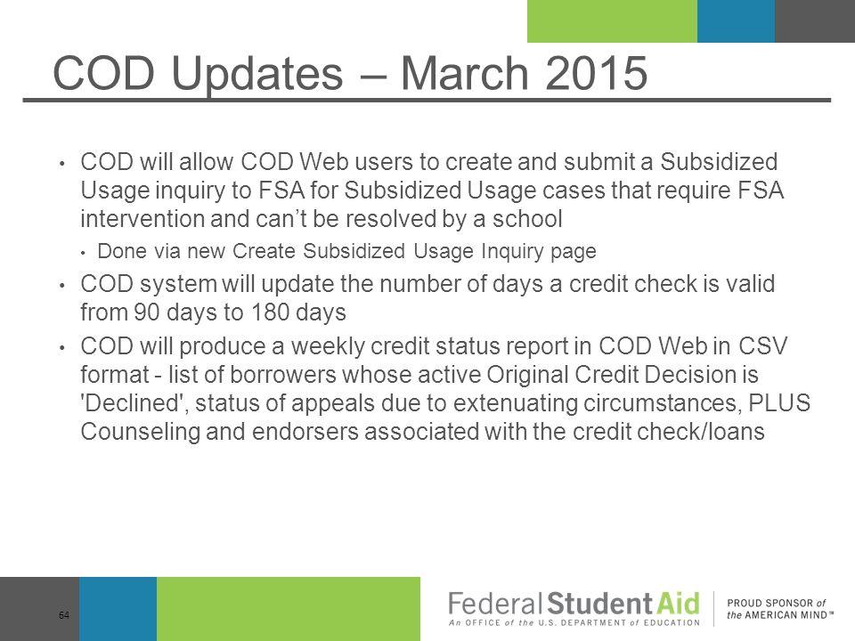 COD Updates – March 2015