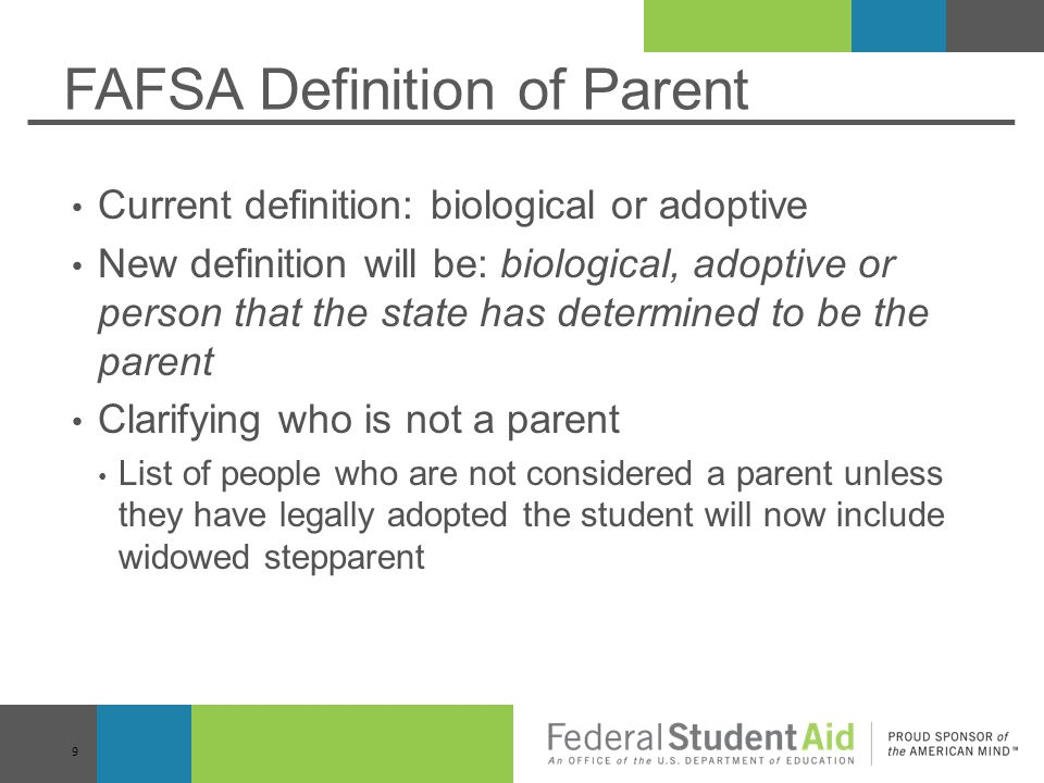 FAFSA Definition of Parent