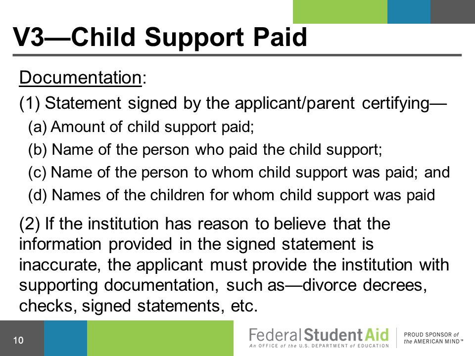 V3—Child Support Paid Documentation: