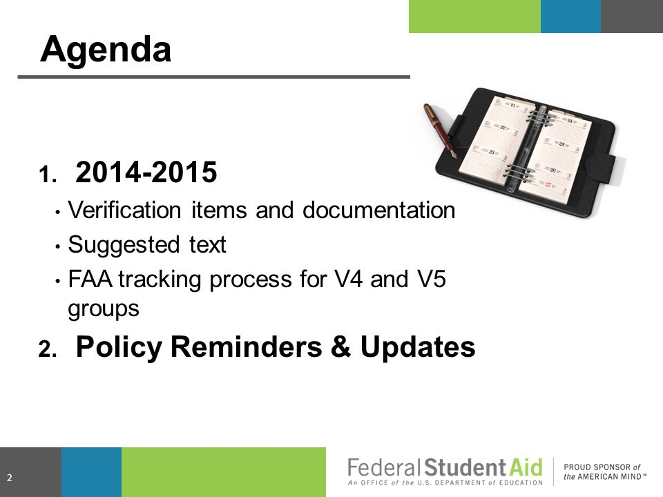 Agenda 2014-2015 Policy Reminders & Updates