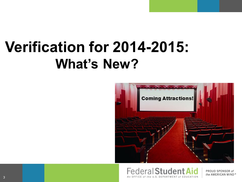 Verification for 2014-2015: What's New