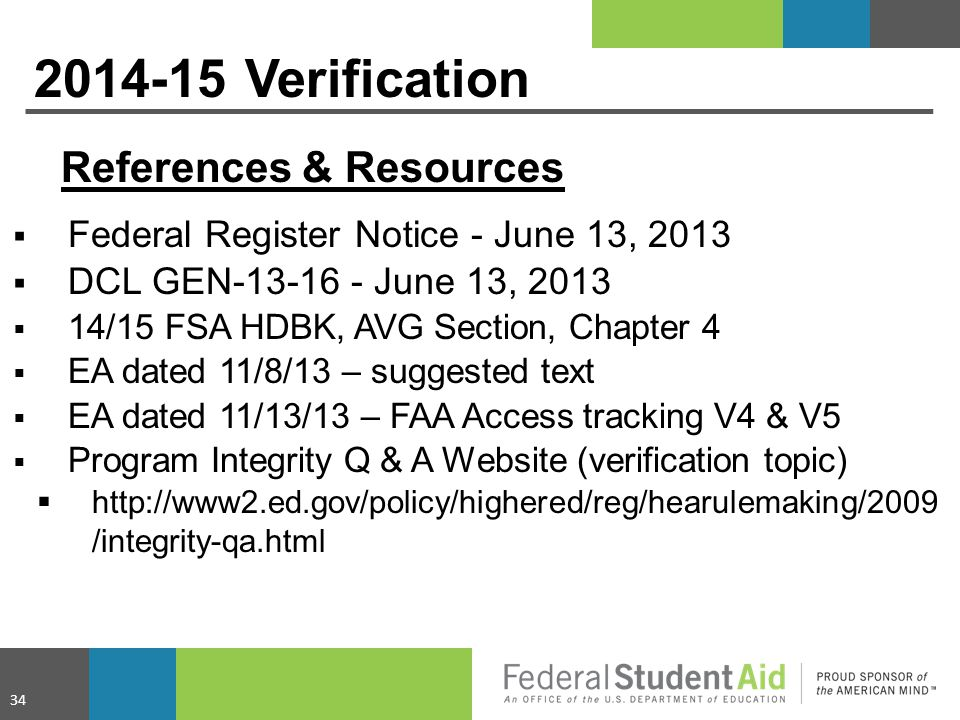 2014-15 Verification References & Resources