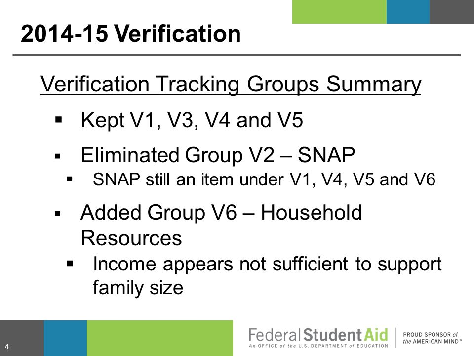 2014-15 Verification Verification Tracking Groups Summary