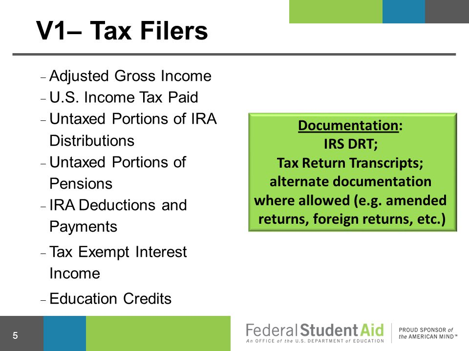 V1– Tax Filers Adjusted Gross Income U.S. Income Tax Paid
