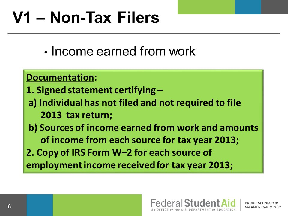 V1 – Non-Tax Filers Income earned from work Documentation: