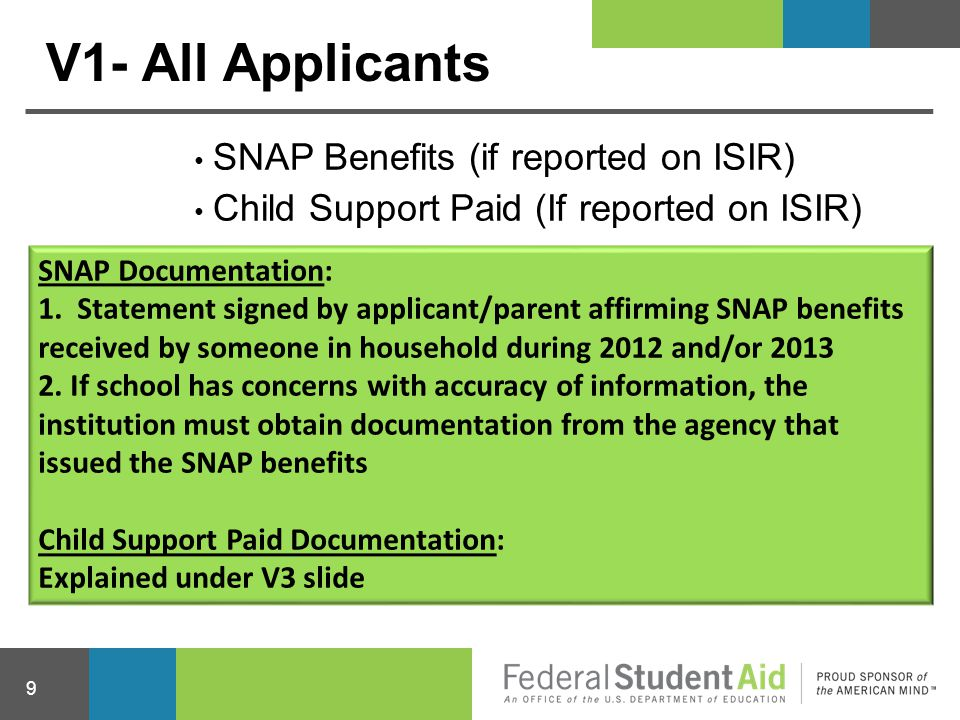 V1- All Applicants SNAP Benefits (if reported on ISIR)