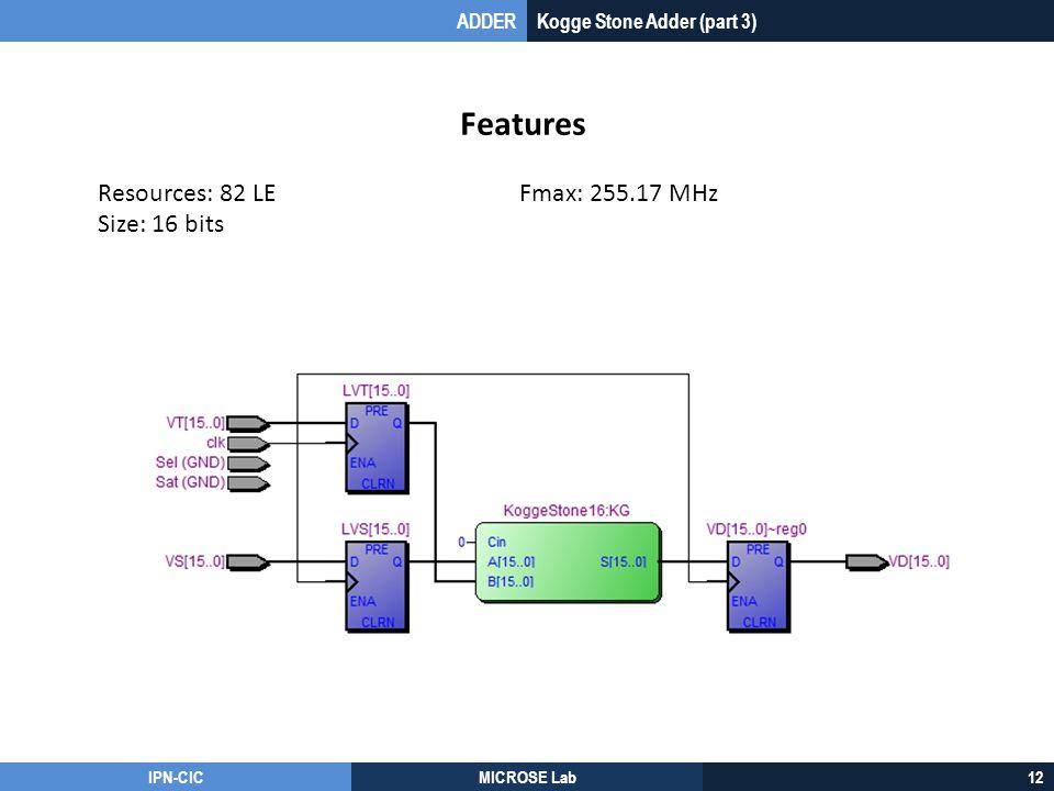 Features Resources: 82 LE Fmax: 255.17 MHz Size: 16 bits ADDER