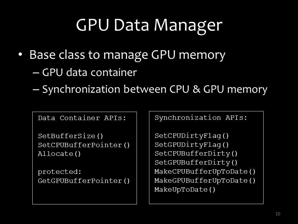 GPU Data Manager Base class to manage GPU memory GPU data container