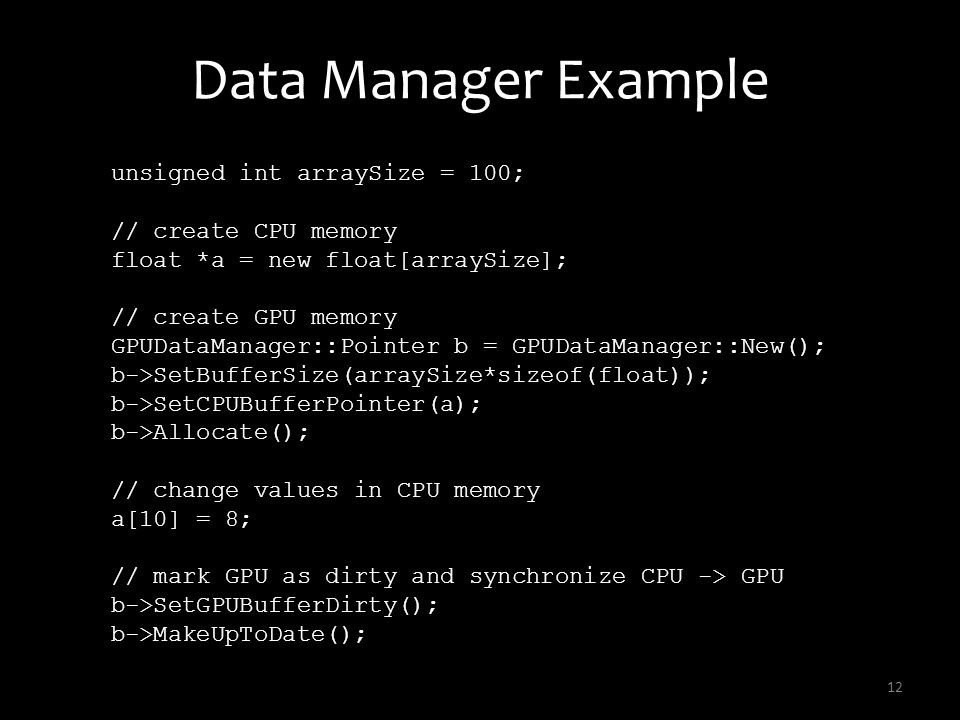 Data Manager Example unsigned int arraySize = 100;