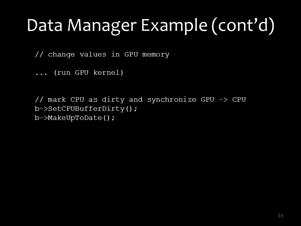 Data Manager Example (cont'd)