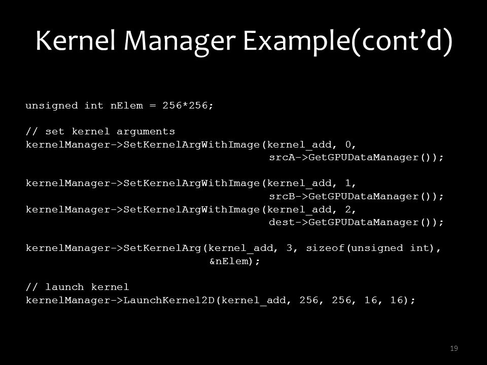 Kernel Manager Example(cont'd)