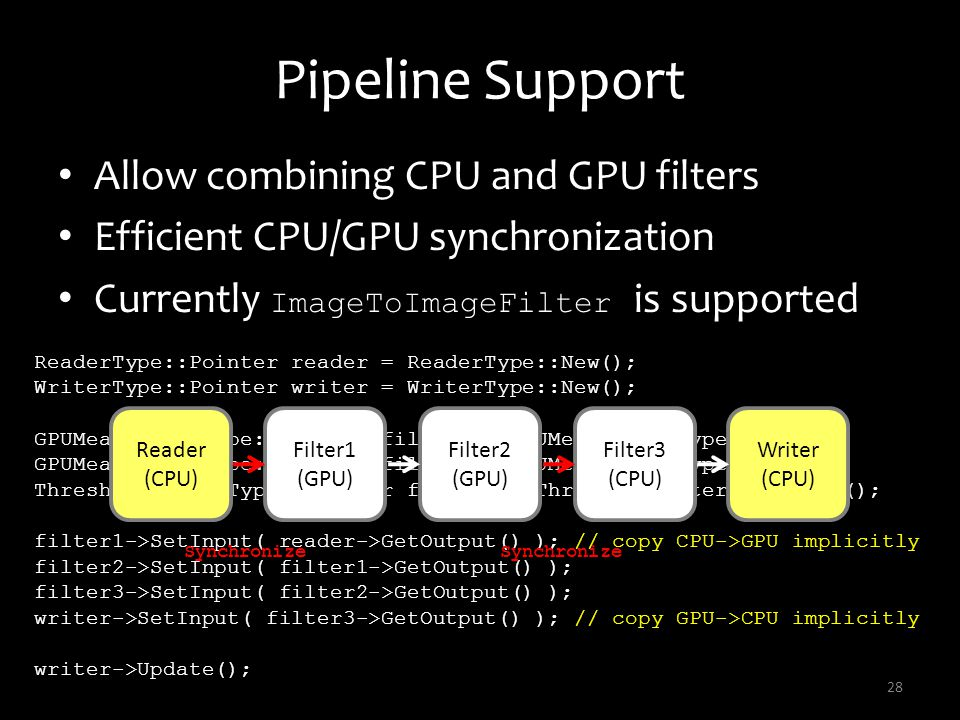 Pipeline Support Allow combining CPU and GPU filters