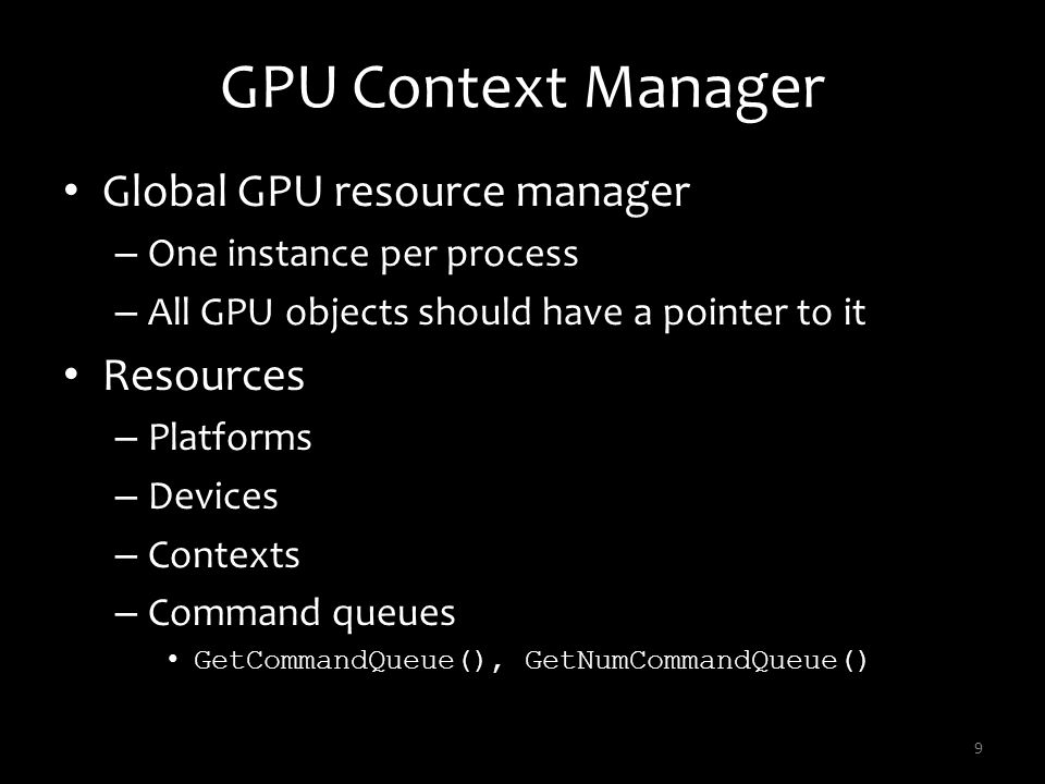 GPU Context Manager Global GPU resource manager Resources