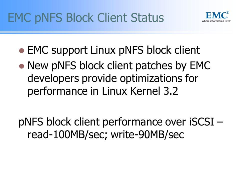 EMC pNFS Block Client Status