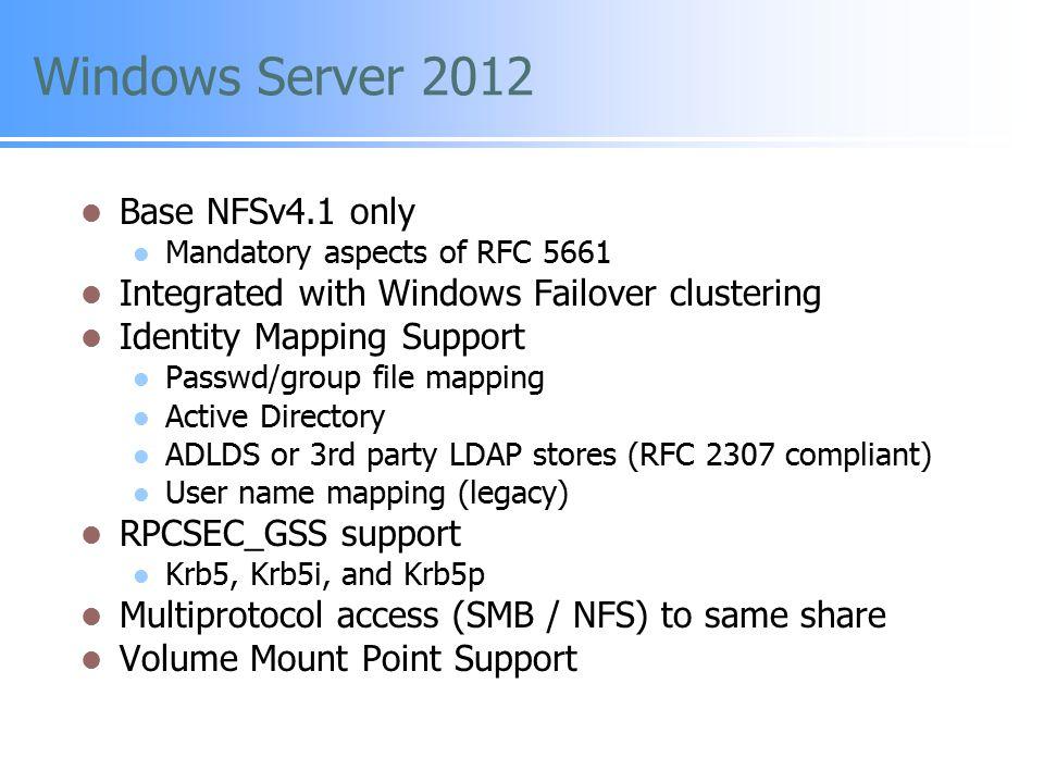Windows Server 2012 Base NFSv4.1 only