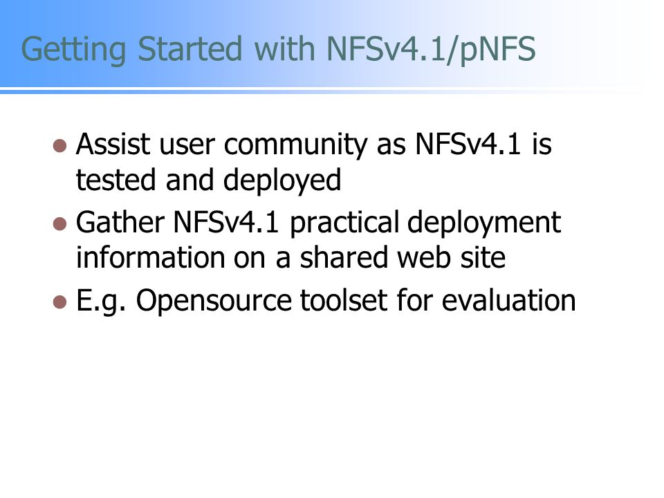 Getting Started with NFSv4.1/pNFS