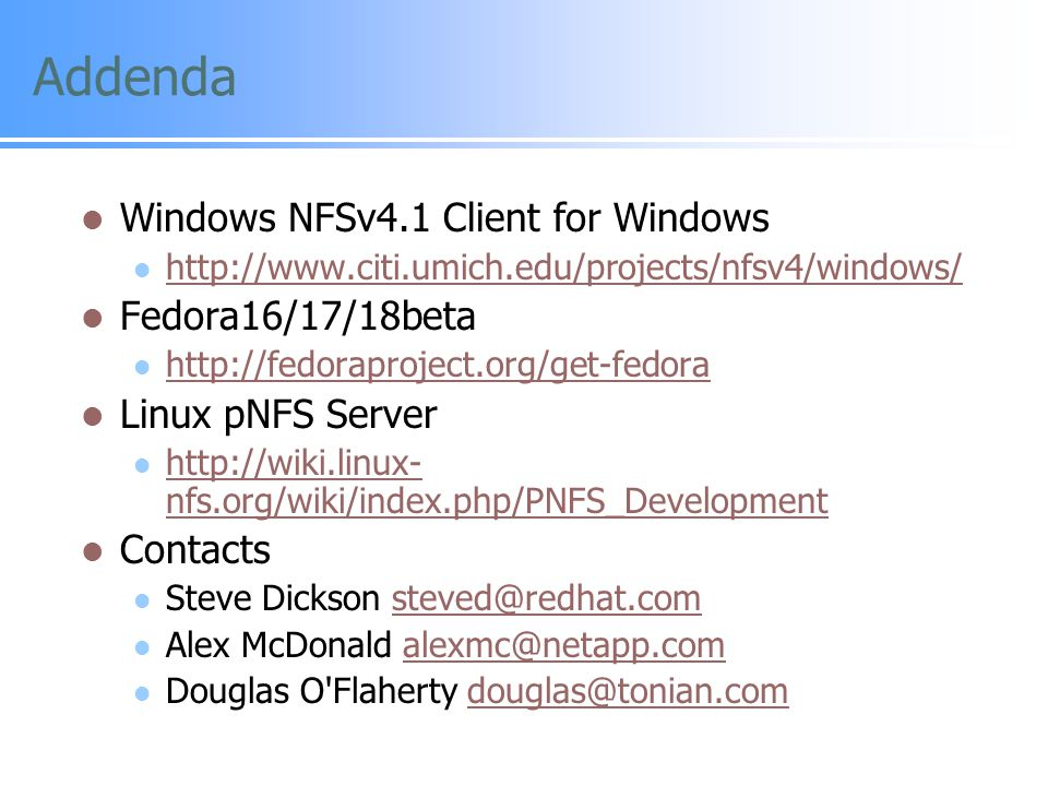Addenda Windows NFSv4.1 Client for Windows Fedora16/17/18beta