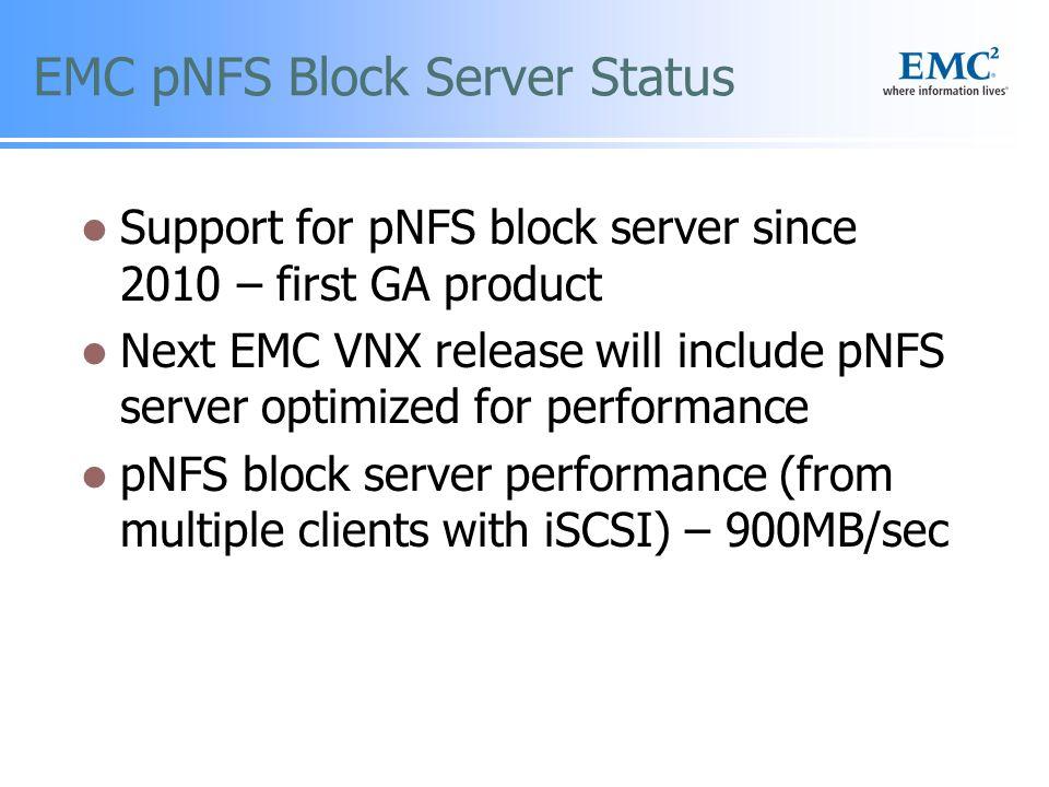EMC pNFS Block Server Status