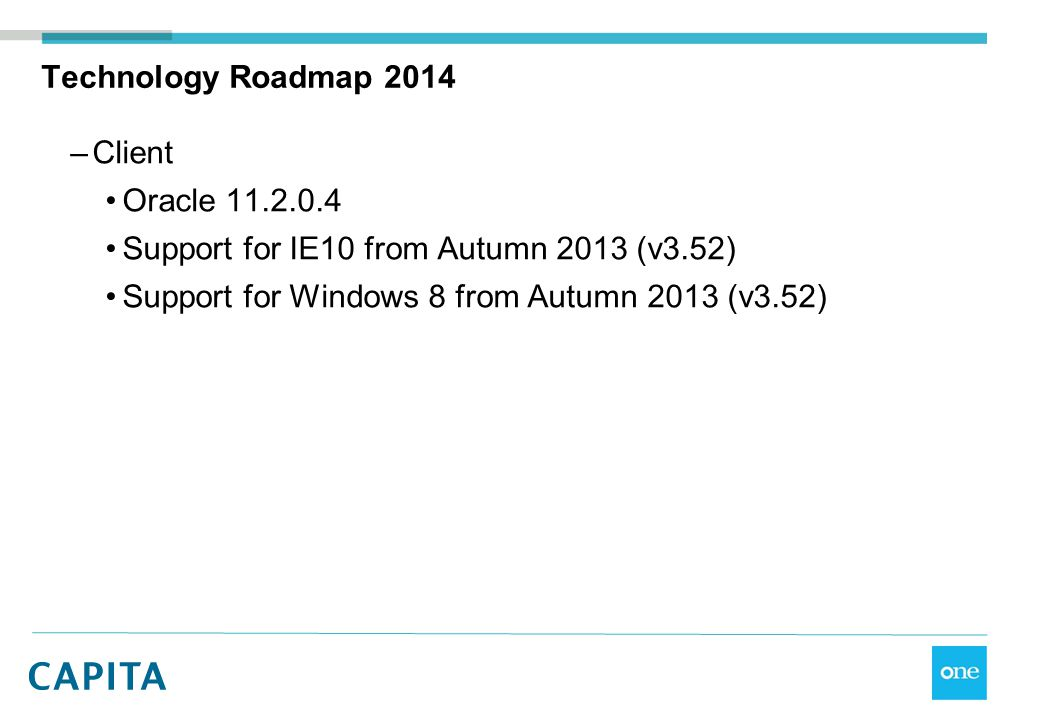 Technology Roadmap 2014 Client. Oracle 11.2.0.4.