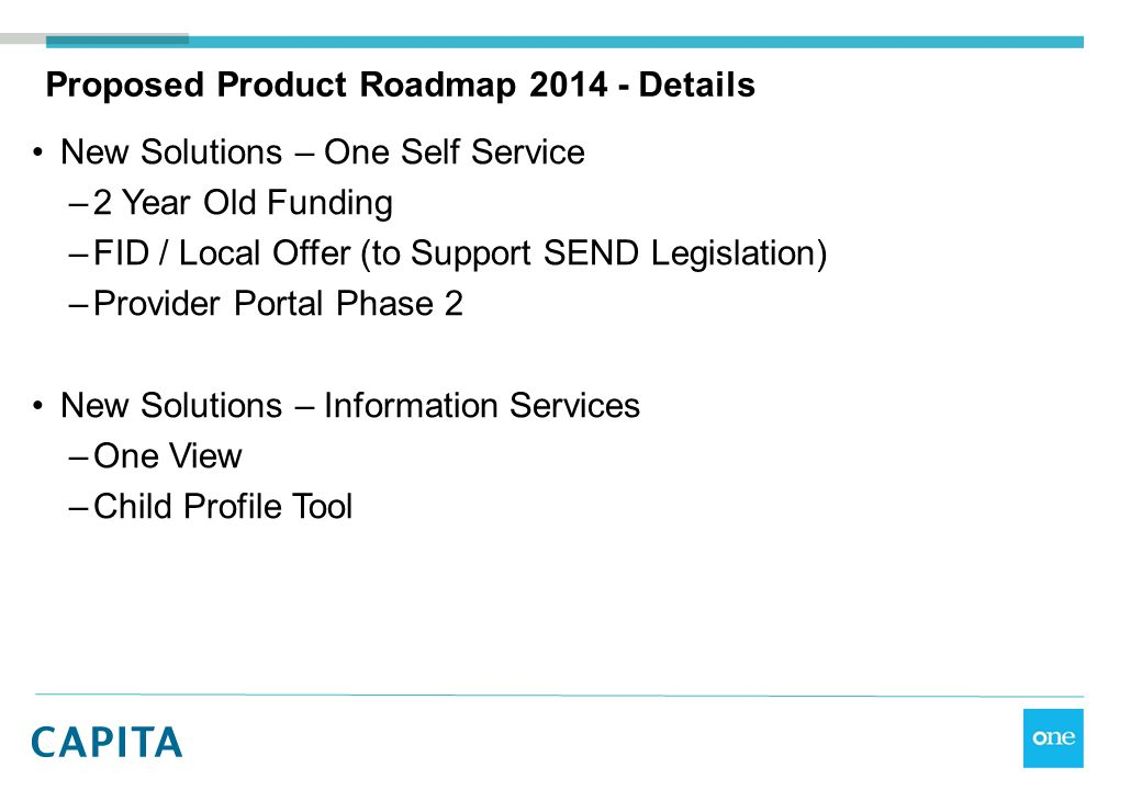 Proposed Product Roadmap 2014 - Details