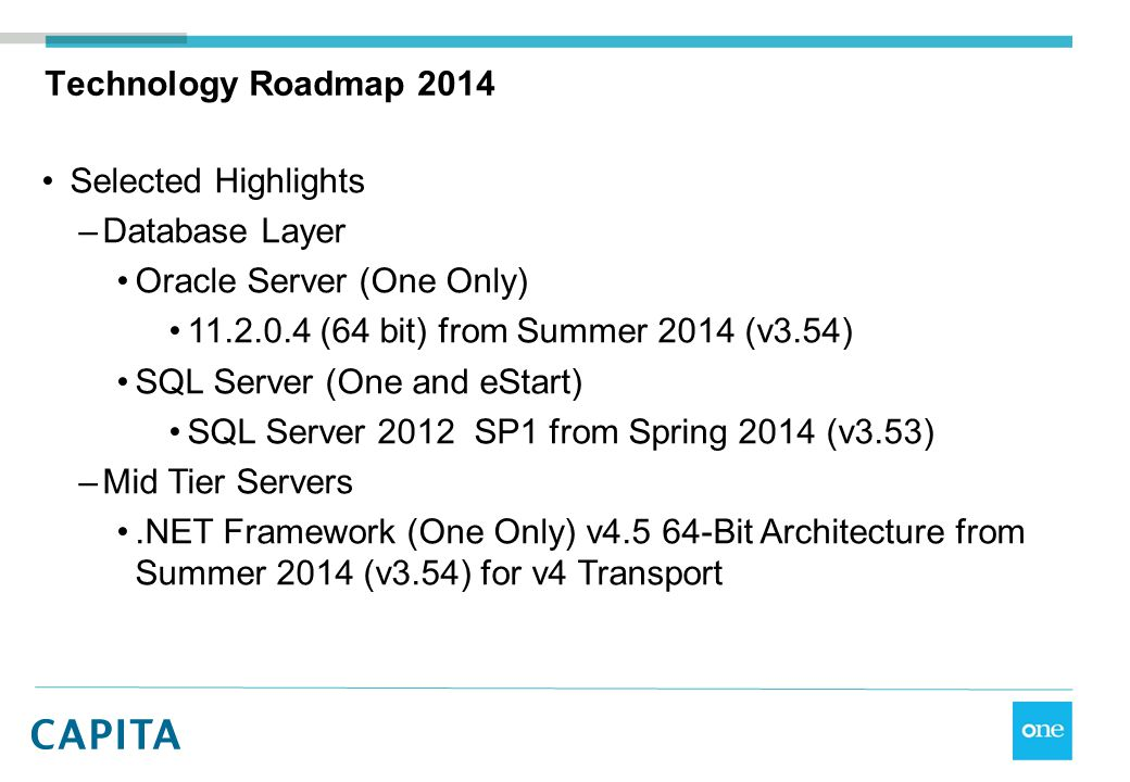 Technology Roadmap 2014 Selected Highlights. Database Layer. Oracle Server (One Only) 11.2.0.4 (64 bit) from Summer 2014 (v3.54)