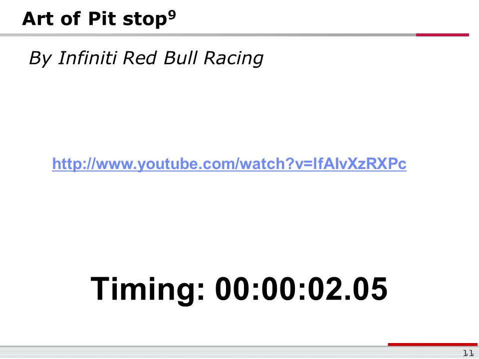 Timing: 00:00:02.05 Art of Pit stop9 By Infiniti Red Bull Racing