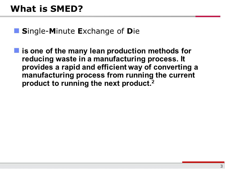 What is SMED Single-Minute Exchange of Die