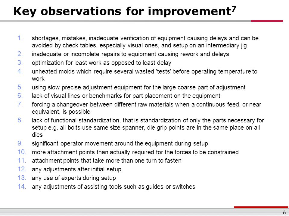 Key observations for improvement7