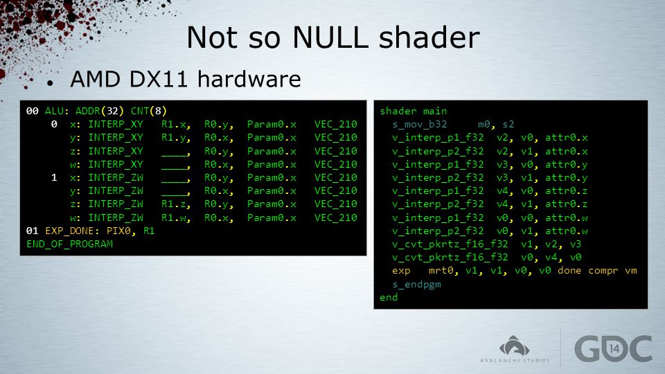 Not so NULL shader AMD DX11 hardware 00 ALU: ADDR(32) CNT(8)