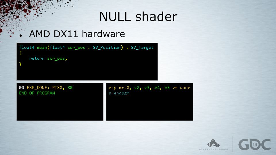 NULL shader AMD DX11 hardware