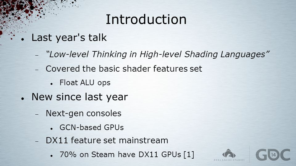 Introduction Last year s talk New since last year