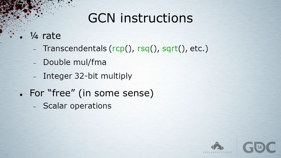 GCN instructions ¼ rate For free (in some sense)