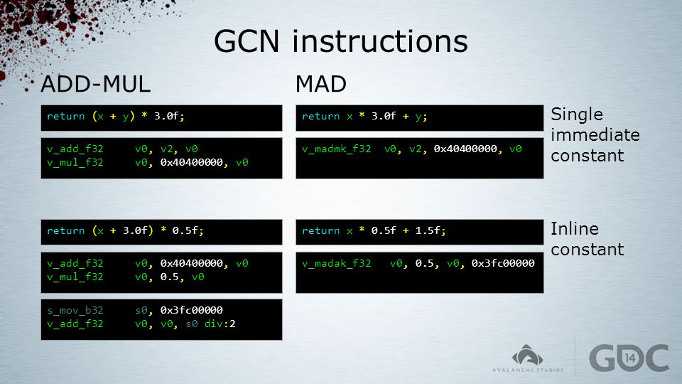 GCN instructions ADD-MUL MAD Single immediate constant Inline constant