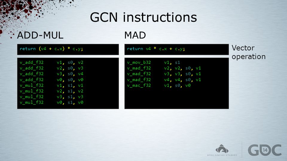 GCN instructions ADD-MUL MAD Vector operation return (v4 + c.x) * c.y;